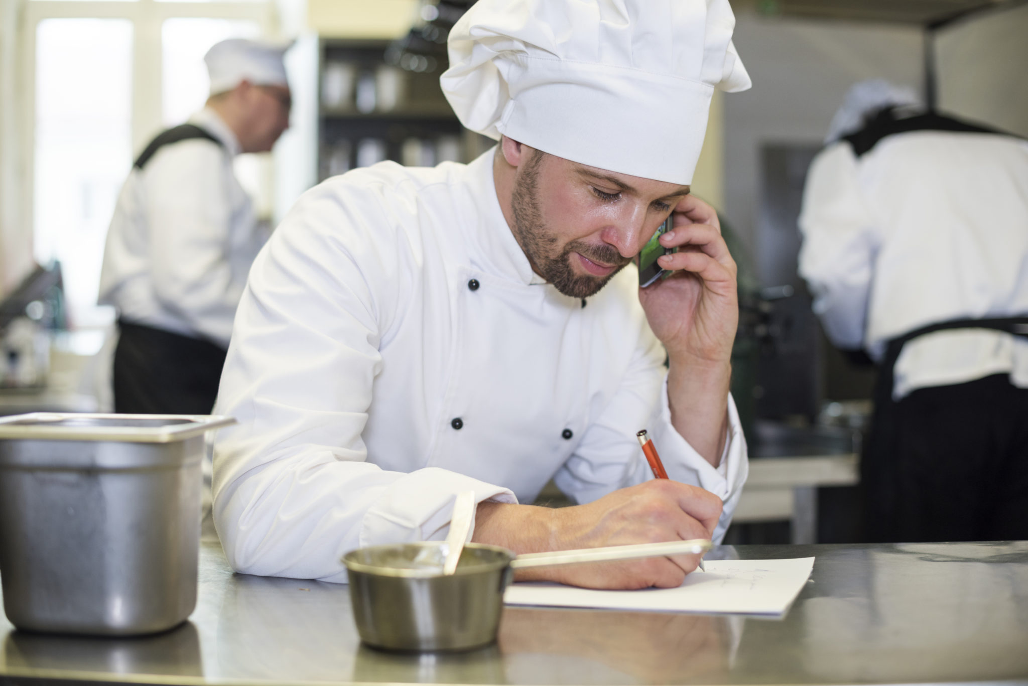 Chef Making Order For The Supplier